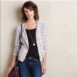 Anthropologie gray white zippered sweater jacket m